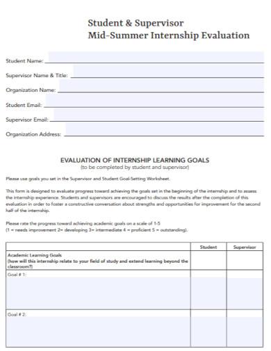 mid summer internship evaluation