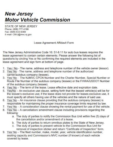 motor vehicle lease agreement affidavit form