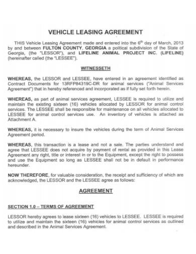 motor vehicle lease agreement