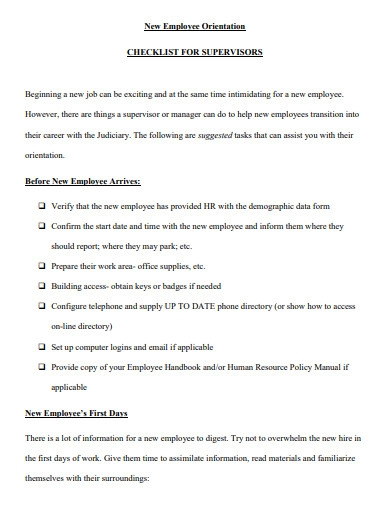 new employee hire orientation checklist for supervisor