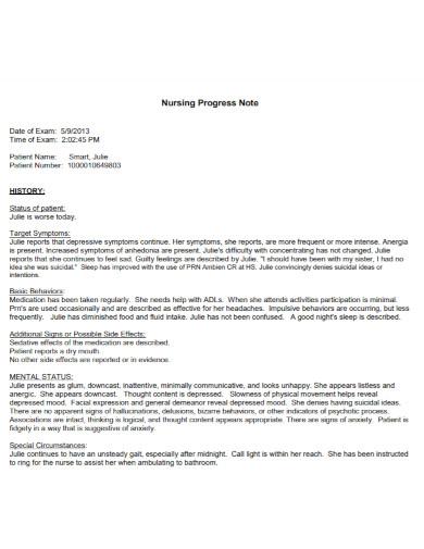 nursing progress note template