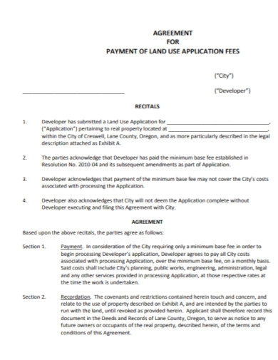 payment of land use agreement
