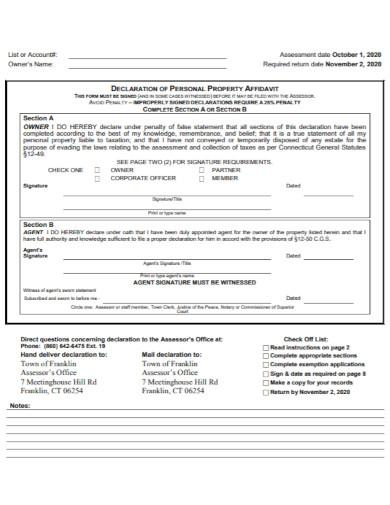 personal declaration statement in pdf