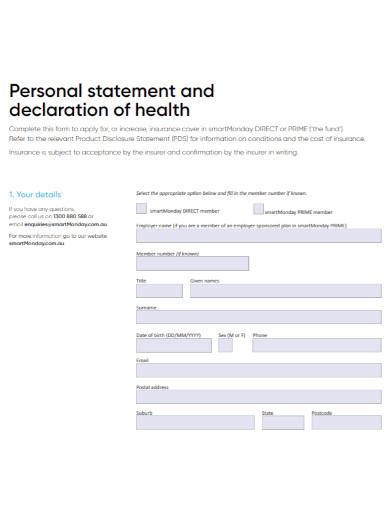 personal declaration of health statement