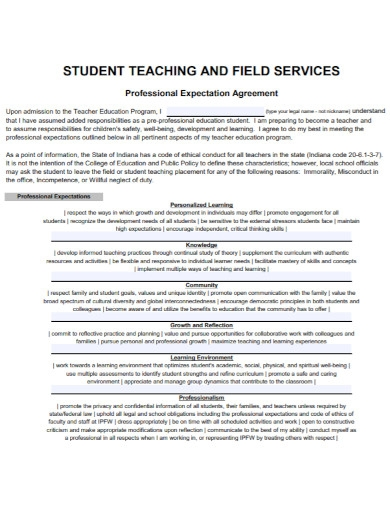 professional student teaching agreement