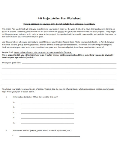 project action plan worksheet