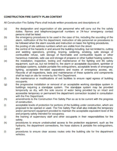 project construction fire safety plan