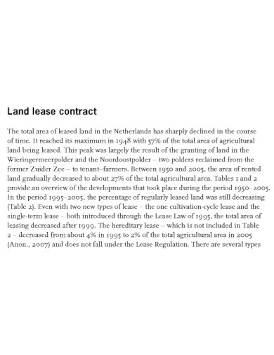 property land lease contract
