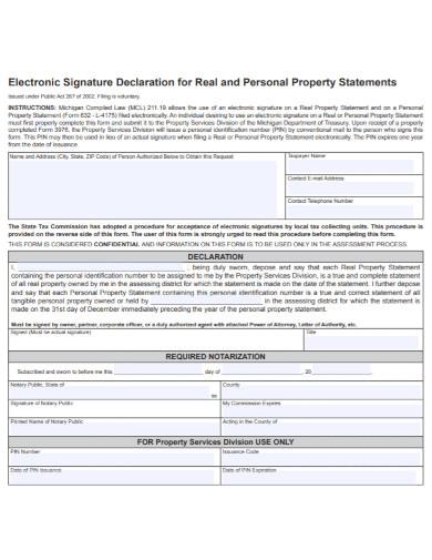 property personal declaration statement