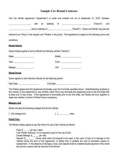 sample car rental contract