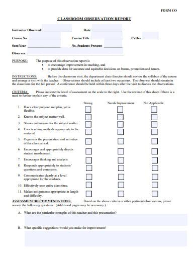 sample classroom observation report