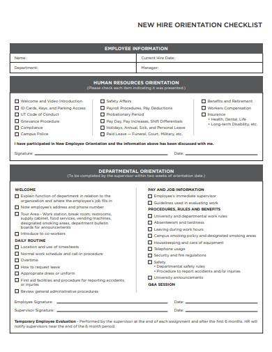 sample new hire orientation checklist