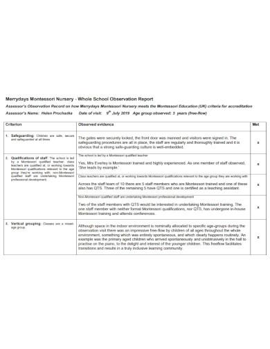school child observation report