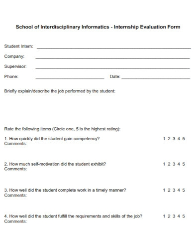 school internship evaluation
