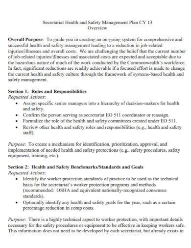 secretariat health and safety management plan