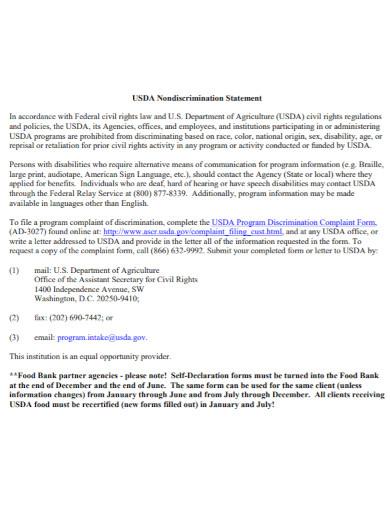 self declaration nondiscrimination statement