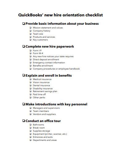simple new hire orientation checklist