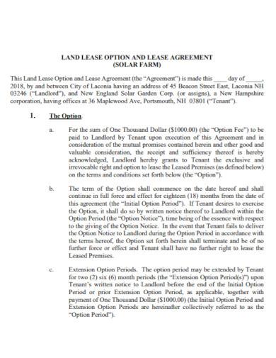 solar farm land lease agreement