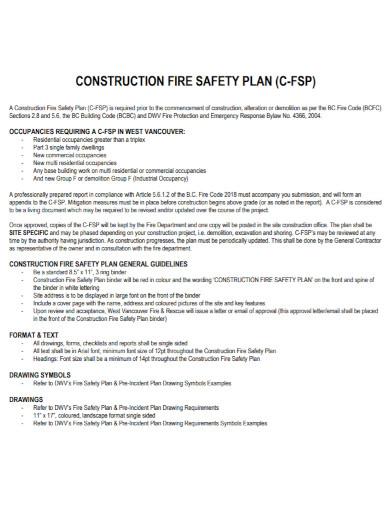 standard construction fire safety plan