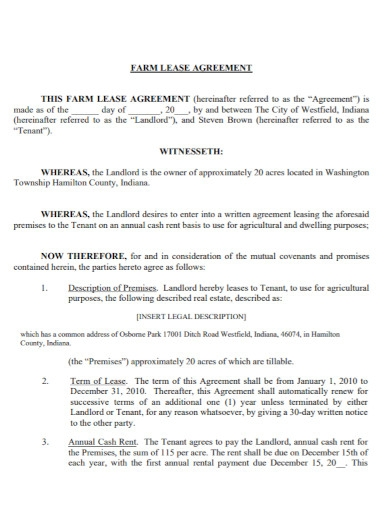 standard farm land lease agreement