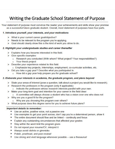standard graduate school statement