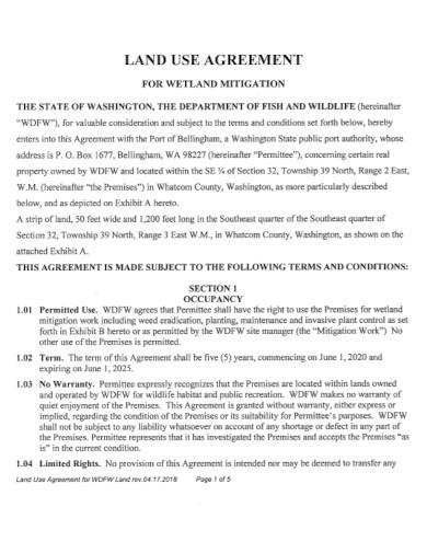 standard land use agreement