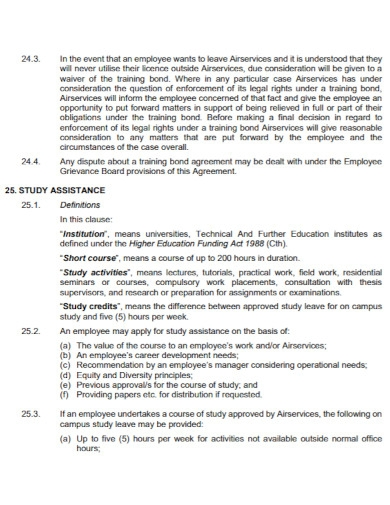 standard training bond agreement