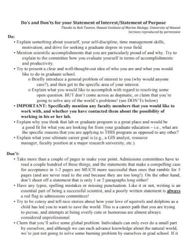 standard university statement of purpose