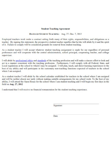 student teaching agreement in pdf