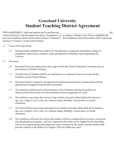 student teaching district agreement