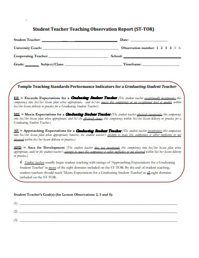 student teaching observation report