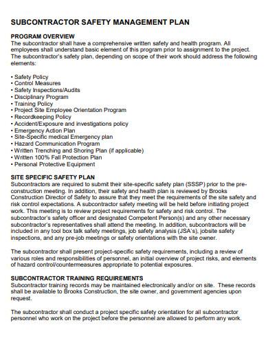 subcontractor construction safety management plans