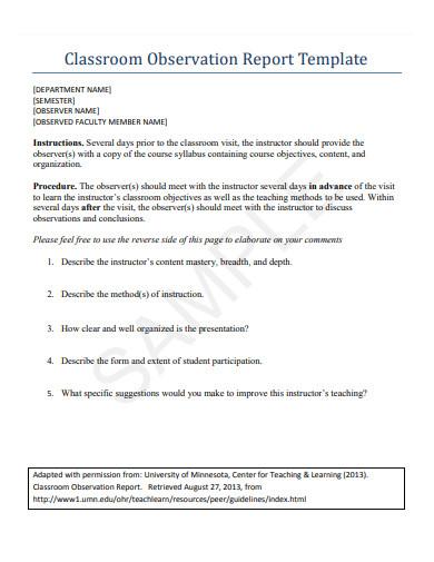 teacher classroom observation report