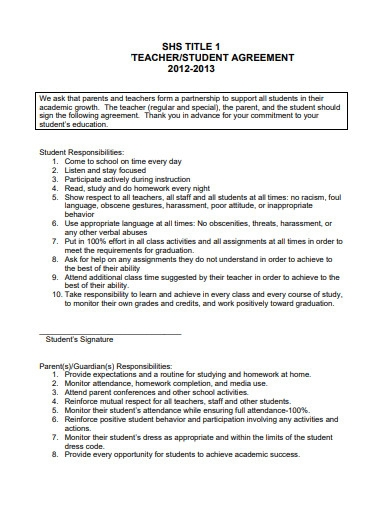 teacher student agreement example