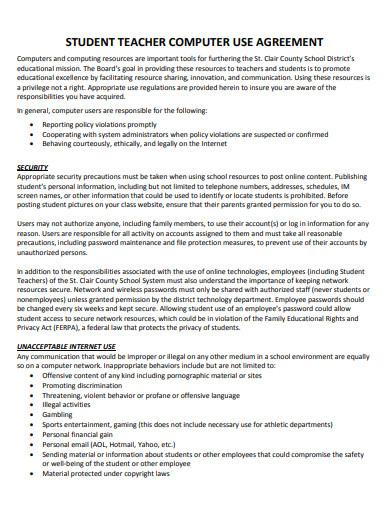 teacher student computer use agreement