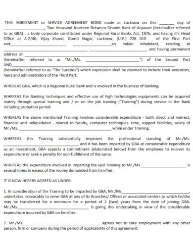 training bond agreement template