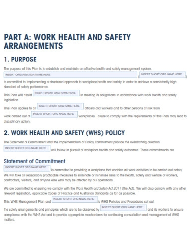 work health and safety management plan