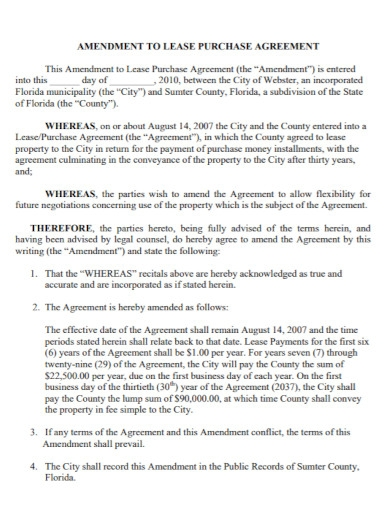 amendment to lease purchase agreement