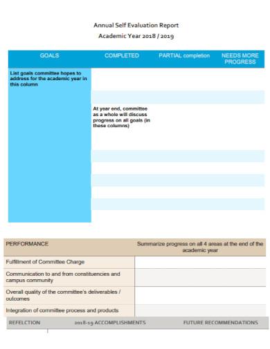 annual self evaluation report