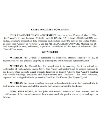 bank lease purchase agreement