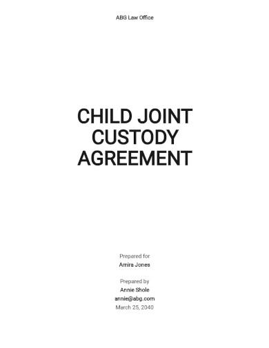 child joint custody agreement template