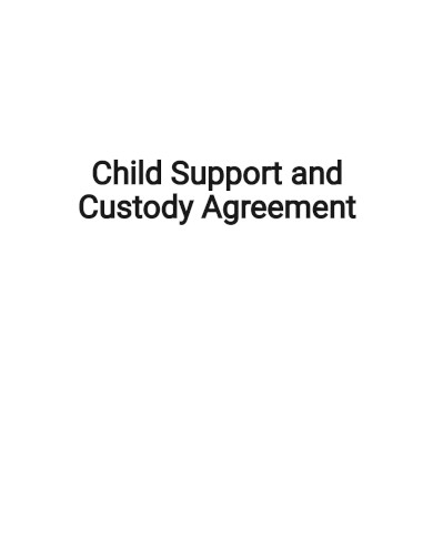 child support and custody agreement template