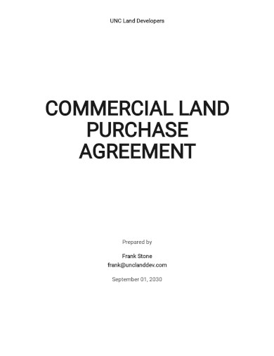 commercial land purchase agreement templates