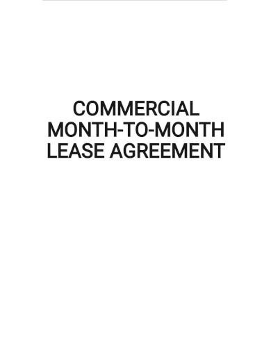 commercial month to month lease agreement template