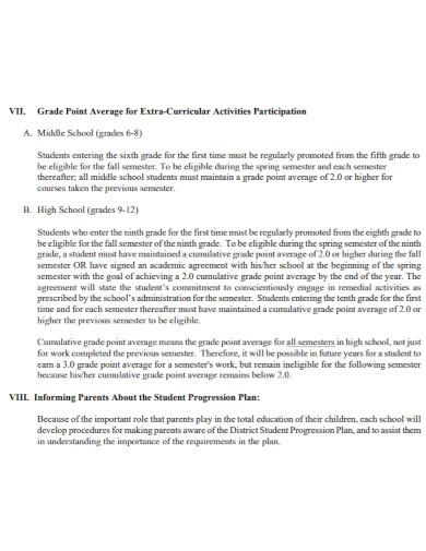 district student progression plan
