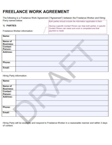 draft freelance work agreement