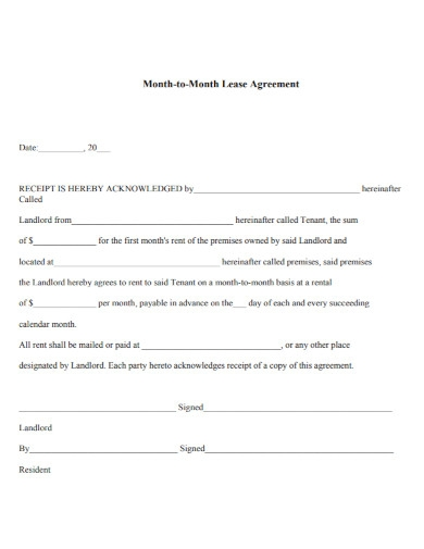 draft month to month lease agreement