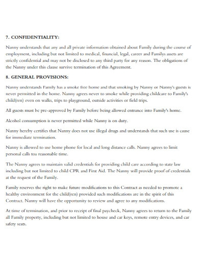 draft nanny agreement contract
