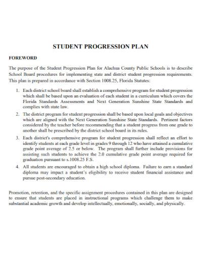 elementary school student progression plan