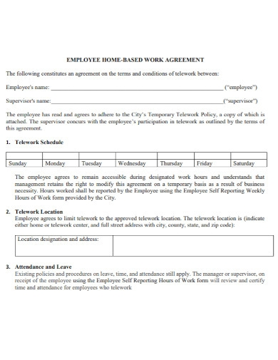 employee home based work agreement